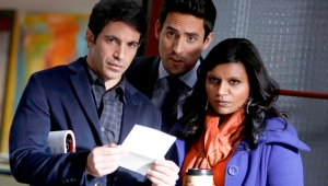THE MINDY PROJECT: Mindy (Mindy Kaling, R), Jeremy (Ed Weeks, C) and Danny (Chris Messina, L) discover a change in the office staff in the
